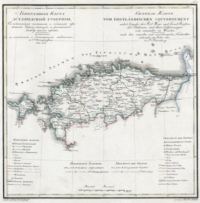 Карта Эстляндской губернии 1821 года
