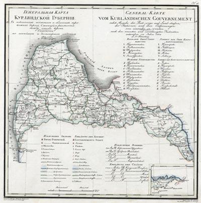 Карта Курляндской губернии 1821 года