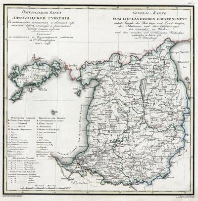 Карта Лифляндской губернии 1821 года