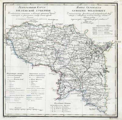 Карта Виленской губернии 1821 года